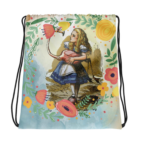 Alice in Wonderland Alice and Flamingo Drawstring bag