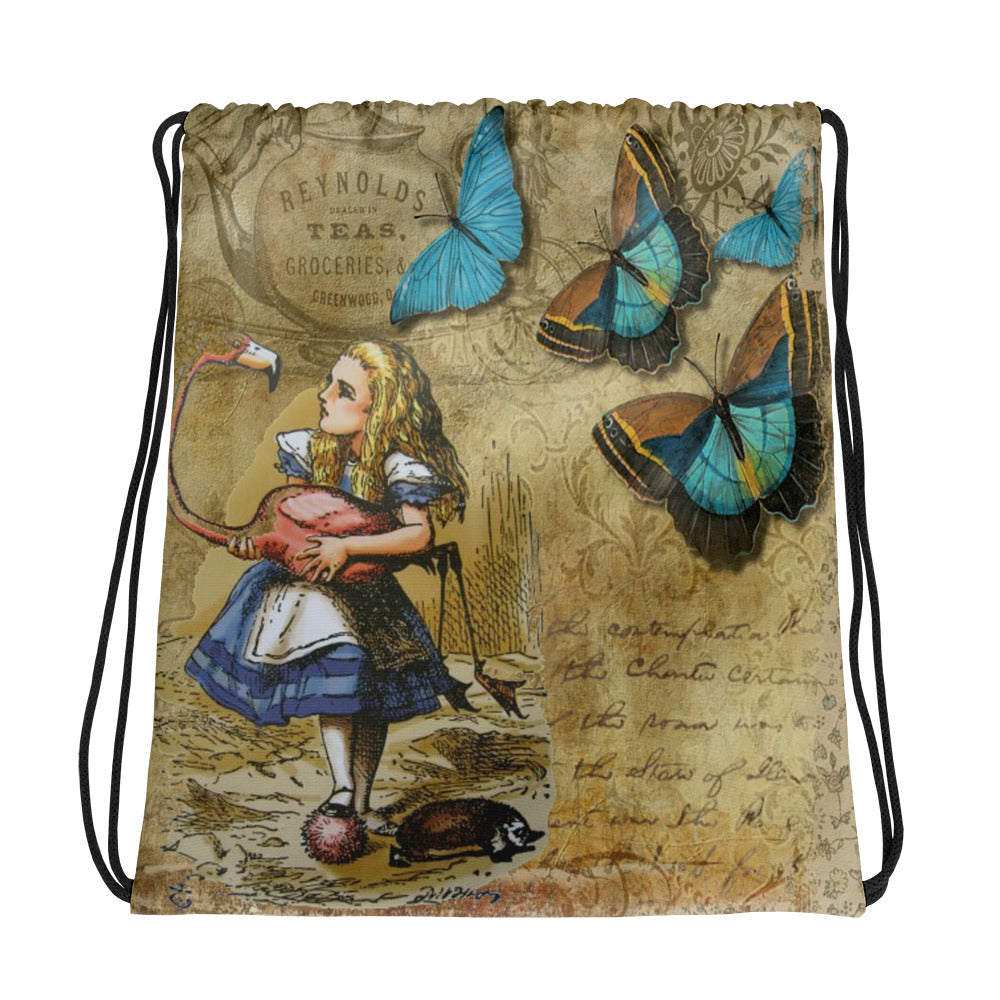 Alice in Wonderland Butterfly Drawstring bag