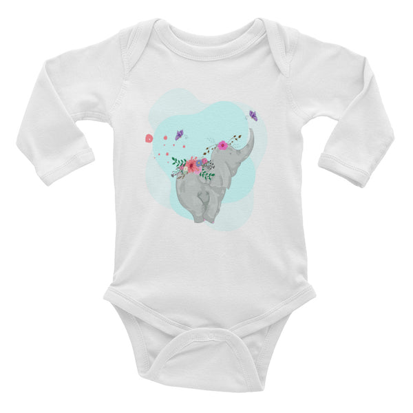 Boho Baby Elephant Infant Long Sleeve Bodysuit