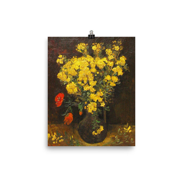 Vincent Van Gogh Art Vase of Flowers Reproduction Poster