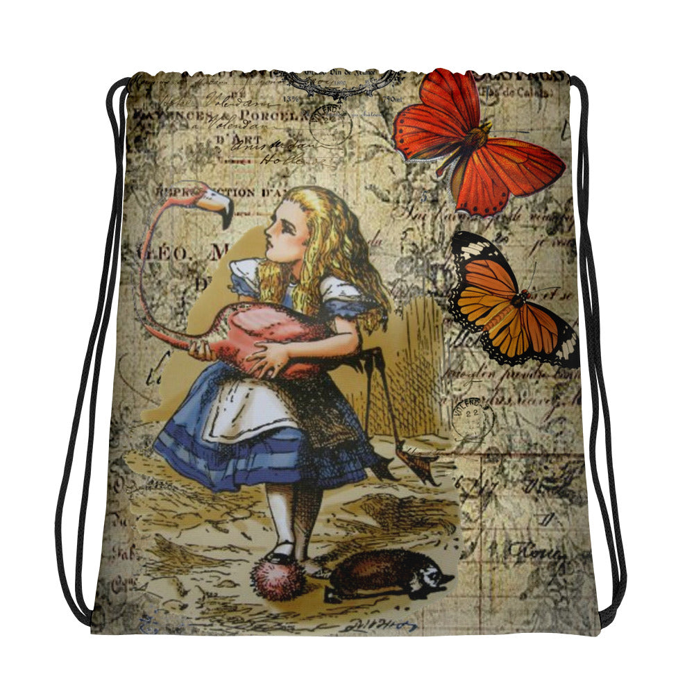 Custom Made Alice in Wonderland  Alice and the Flamingo Drawstring bag