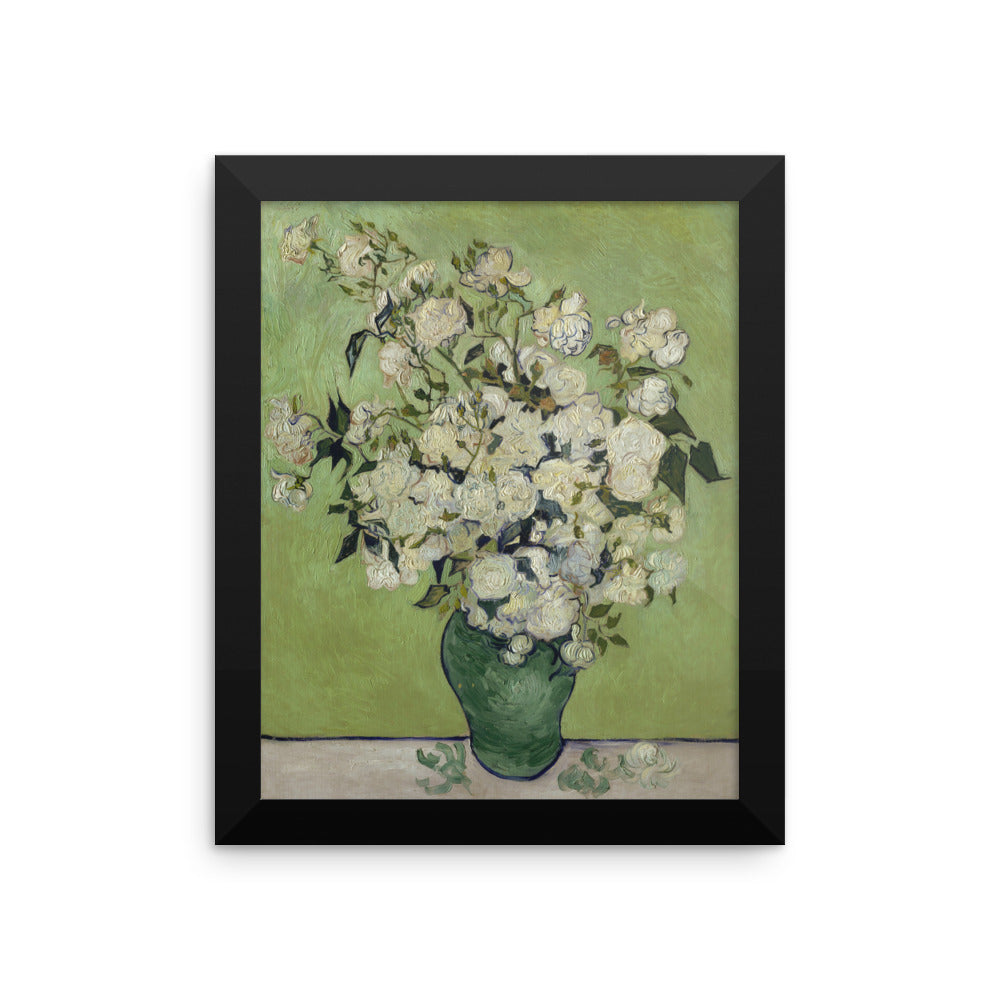 Vase of Roses by Vincent Van Gogh Art Reproduction Framed poster
