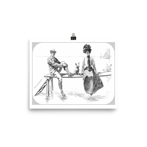 "Charles Dana Gibson Vintage Art Print ""Couple with Dog""  Reproduction Poster"