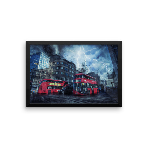 London Street Thunder Storm Print Framed poster