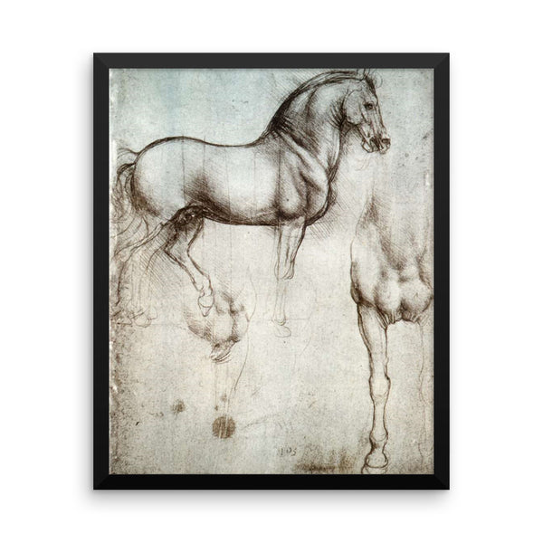 Study of a Horse Reproduction Art Print by Leonardo Da Vinci Framed poster
