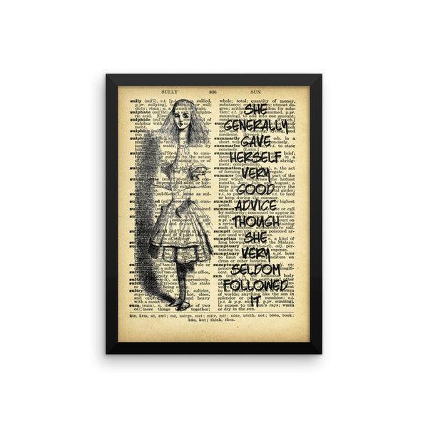 "Alice in Wonderland ""Tall Alice"" on Dictionary Page Ephemera Wall Art, Framed Poster, Framed Wall Decor"