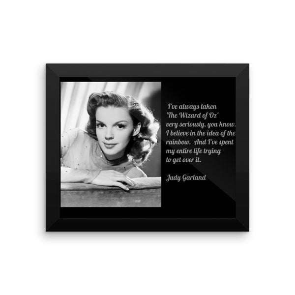 Judy Garland Wizard of Oz Quote Framed poster, Vintage Movie Star Poster, Framed Judy Garland Poster with Quote