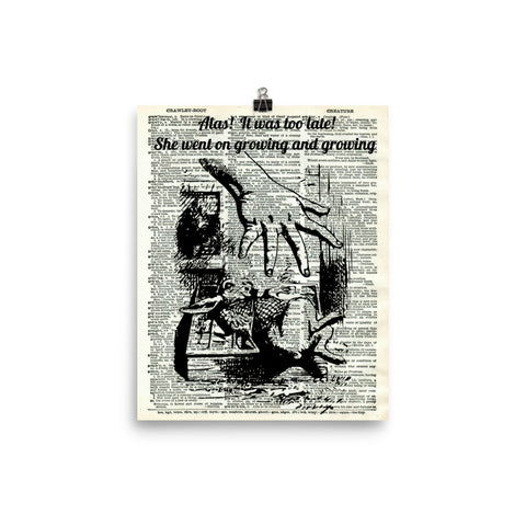 "Alice in Wonderland ""Large Alice"" Dictionary Art Print Poster"