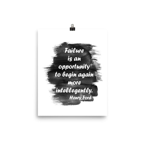 "Watercolor Art Print Quote ""Failure is an Opportunity"", Wall Decor Poster"