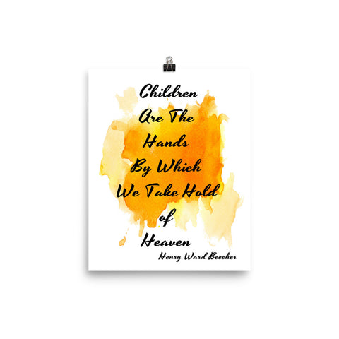 "Watercolor Art Print Quote ""Children are the Hands"", Wall Decor Poster"