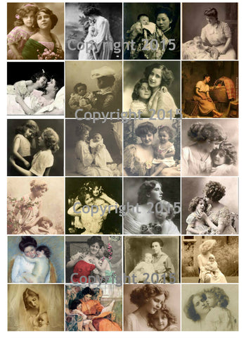 Vintage Mother and Child Photo Images #101 Instant Download Collage Sheet 8.5 x 11""