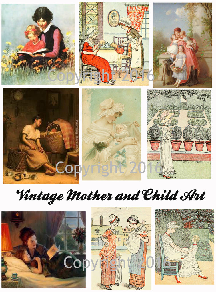 Vintage Mother and Child #104 Images Printed Collage for Mother's Day  Sheet 8.5 x 11""