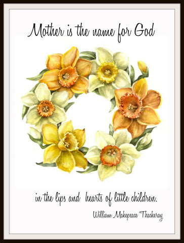 "Vintage Mother's Day Art Print  ""Mother Is the Name For God"" 8.5 x 11"""