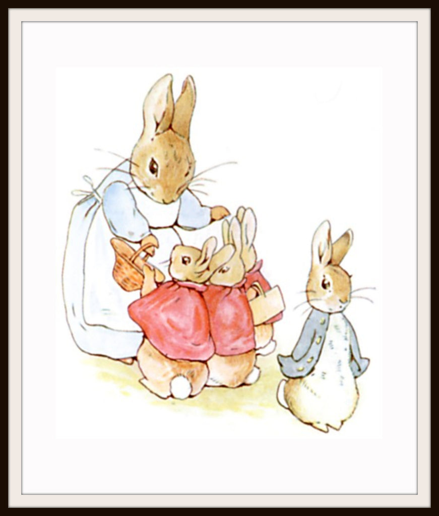 Beatrix Potter Mother Rabbit and Bunnies Art Print 8 x 10""