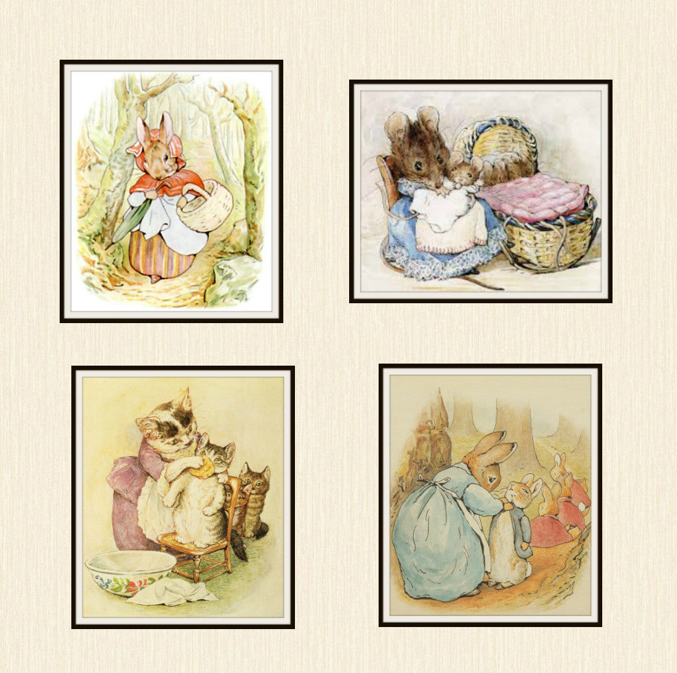 "Beatrix Potter Peter Rabbit and Friends Mother Collection,  Set of 4  Art Prints 8 x 10"" Unframed"