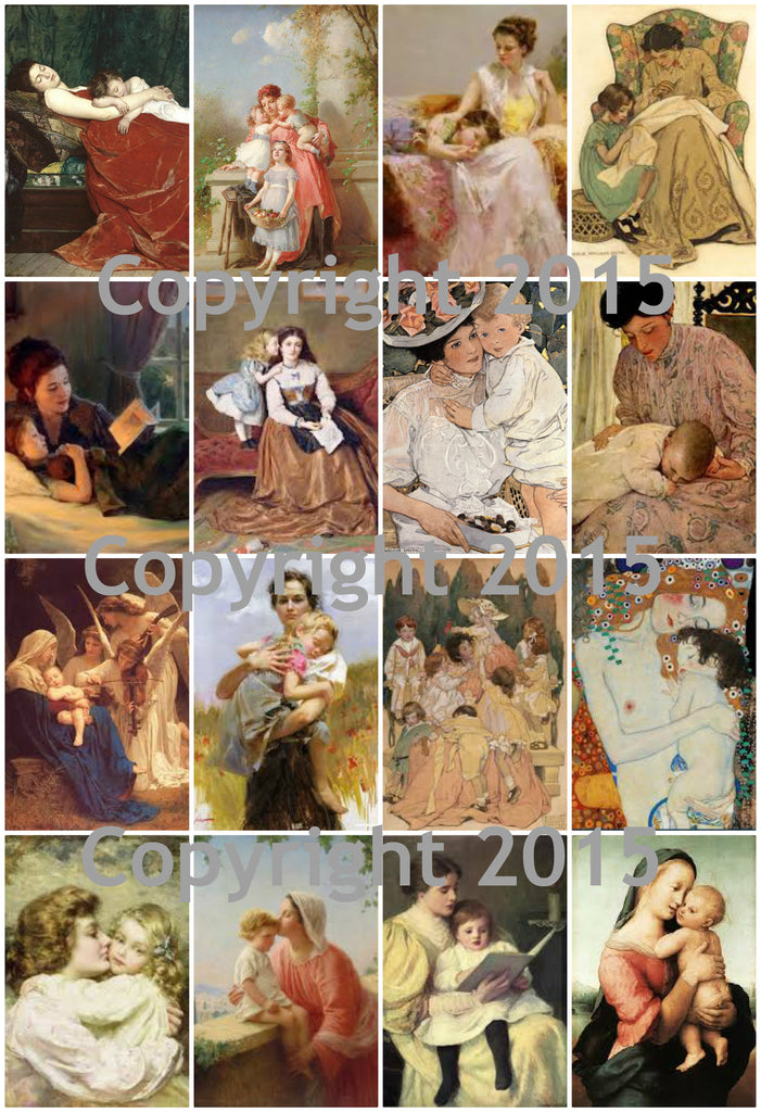 Vintage Mother and Child #102 Images Printed Collage for Mother's Day  Sheet 8.5 x 11""