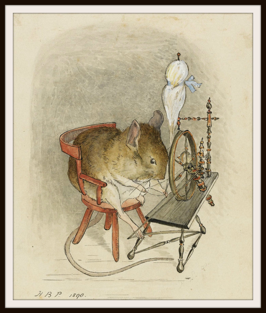 Mouse at a Spinning Wheel  by Beatrix Potter Art Print 8 x 10""