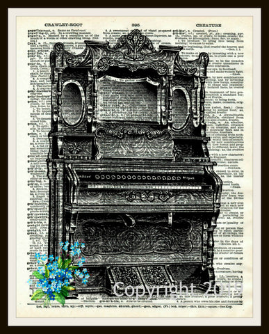 Printed Vintage Musical Instrument Reproduction Ephemera Dictionary Background Art Poster