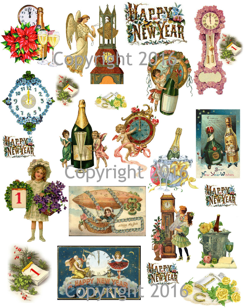 Printed Vintage Victorian New Years Scrap for Decoupage Collage Sheet