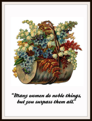 "Vintage Mother's Day Art Print  ""Many Women Do Noble Things""  8.5 x 11"""