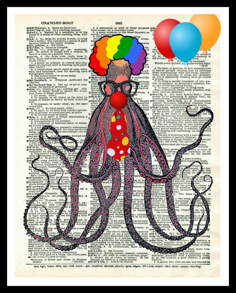 "Printed Vintage Octopus ""Octo Clown""Art Print Poster 8 x 10 or 11 x 14"" Unframed"