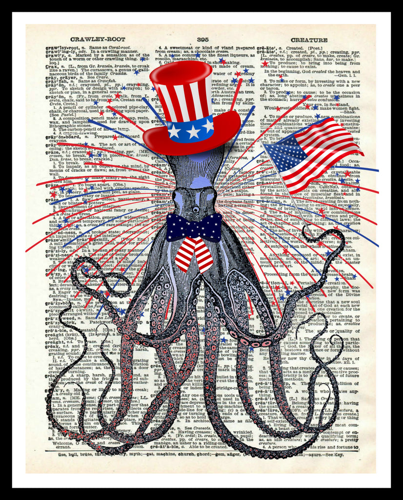 "Printed Vintage Octopus ""Octo Patriot"" Art Print Poster 8 x 10 or 11 x 14"" Unframed"