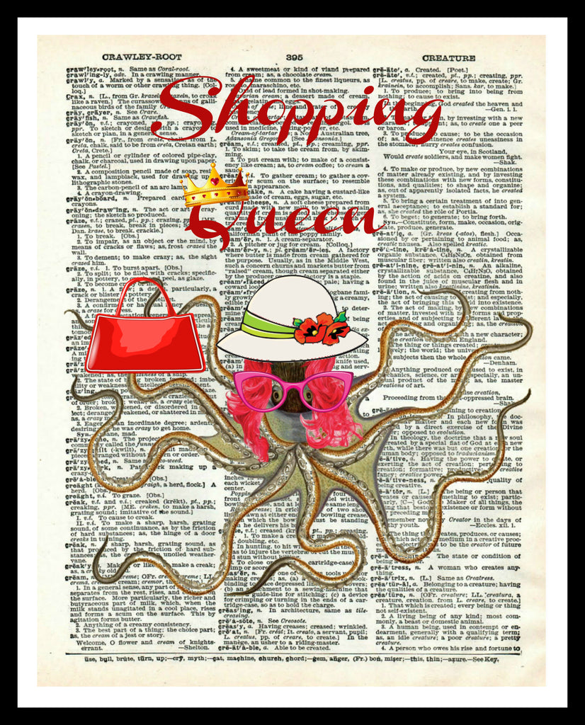 "Printed Vintage Octopus ""Octo Shopper""Art Print Poster 8 x 10 or 11 x 14"" Unframed"