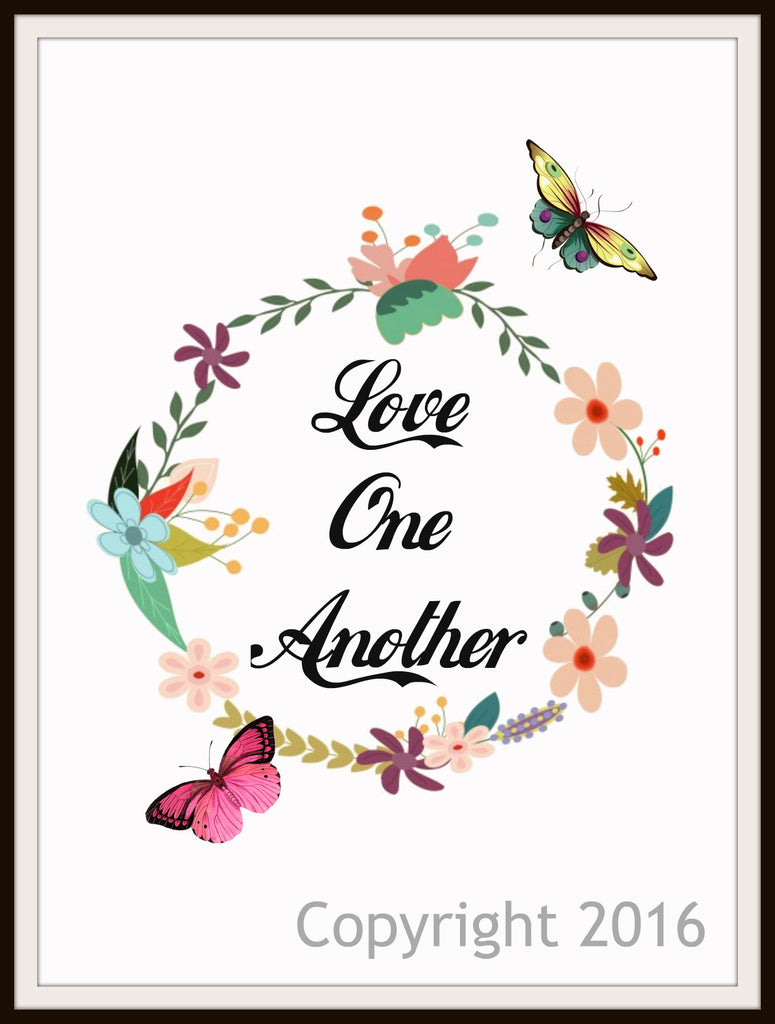 "Scripture Art Print  ""Love One Another"", Wall Decor, 8 x 10"" Unframed Motivational Quote"