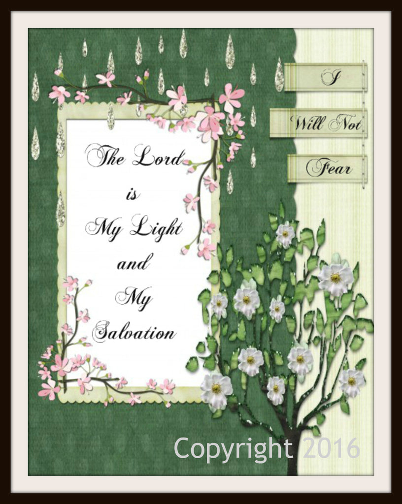 "Scripture Art Print  ""The Lord is My Light"", Wall Decor, 8 x 10"" Unframed Motivational Quote"