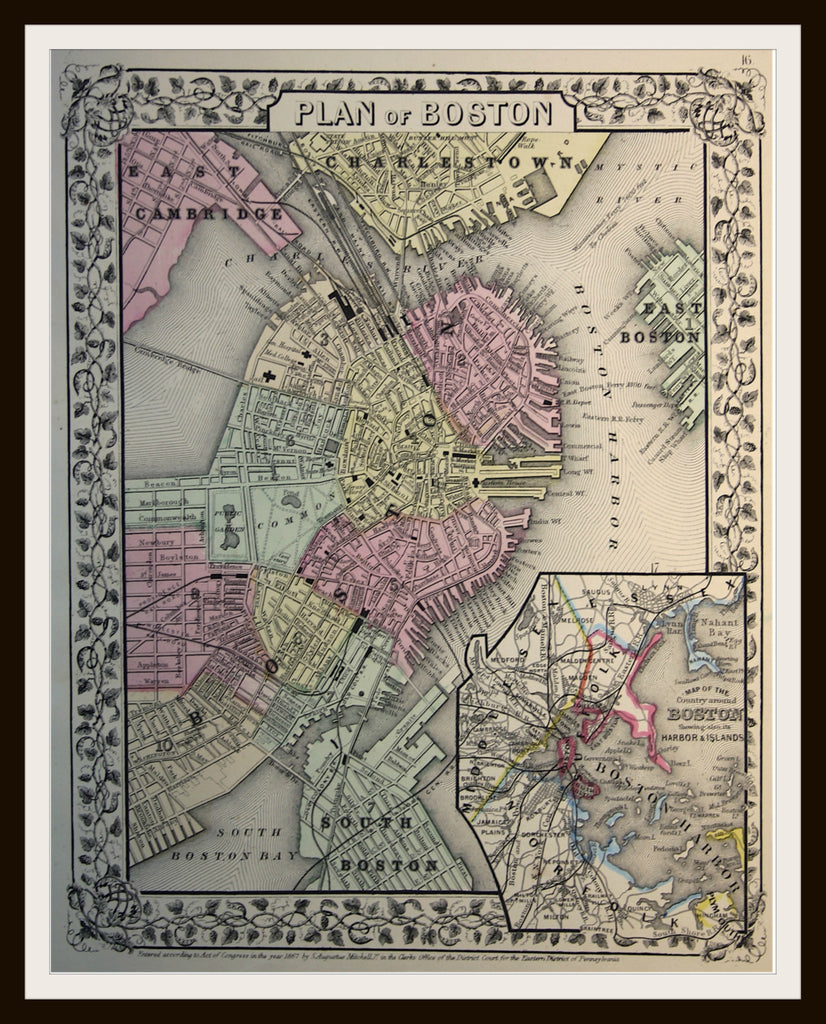 Printed Vintage Boston Map Poster Art Reproduction Unframed