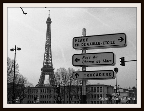 "Photograph Wall Decor ""Eiffel Tower and Paris Street Signs ""   8 x 10 Photo Print  Unframed"