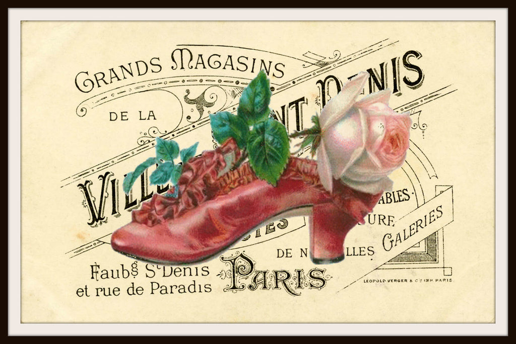 Vintage Shoes on Ephemera Art Print Wall Decor  8.5 x 11, Reproduction Unframed
