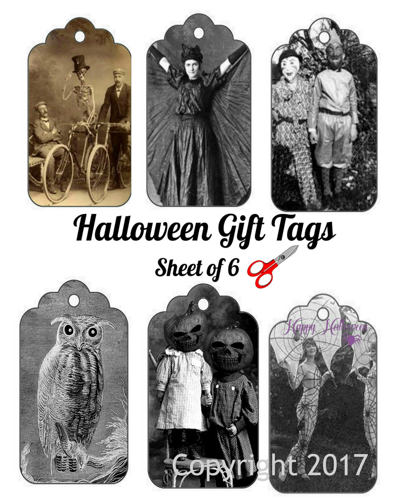 Halloween Gift Tags, Vintage Photo Labels on one Sheet to Cut