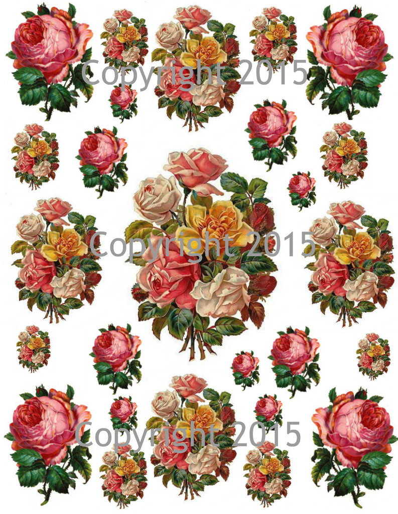 Pink and Yellow Roses Collage Sheet  Printed Collage Sheet,  Weddings, Decoupage, Scrapbook, Altered Art, Victorian Scrap