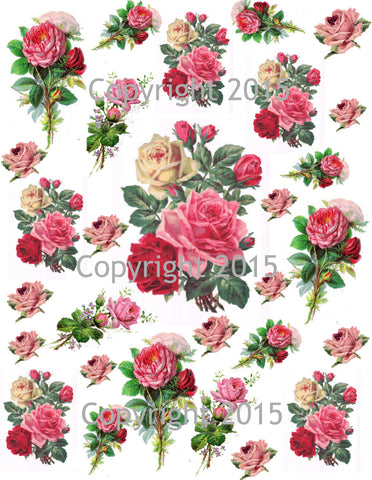 Pink Roses Collage Sheet  Printed Collage Sheet,  Weddings, Decoupage, Scrapbook, Altered Art, Victorian Scrap