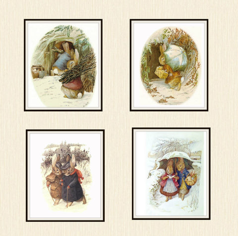 "Beatrix Potter Peter Rabbit and Friends Bunnies in Winter Collection,  Set of 4  Art Prints 8 x 10"" Unframed"