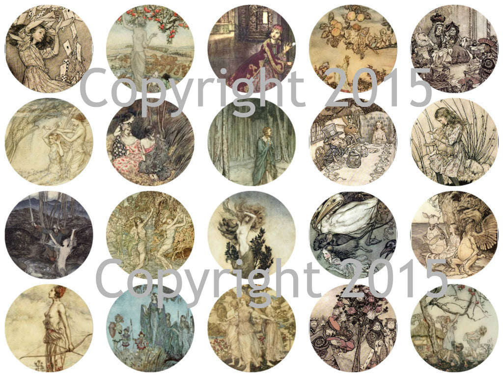 "Printed Vintage Victorian  Arthur Rackham Fairy Tale Images 1 3/4"" Circles Collage Sheet #101"
