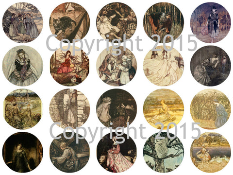 "Printed Vintage Victorian  Arthur Rackham Fairy Tale Images 1 3/4"" Circles Collage Sheet #102"