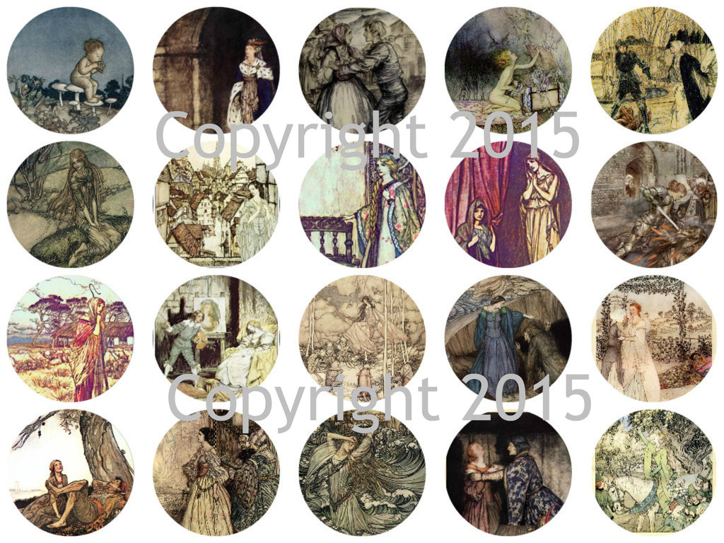 "Printed Vintage Victorian  Arthur Rackham Fairy Tale Images 1 3/4"" Circles Collage Sheet #103"