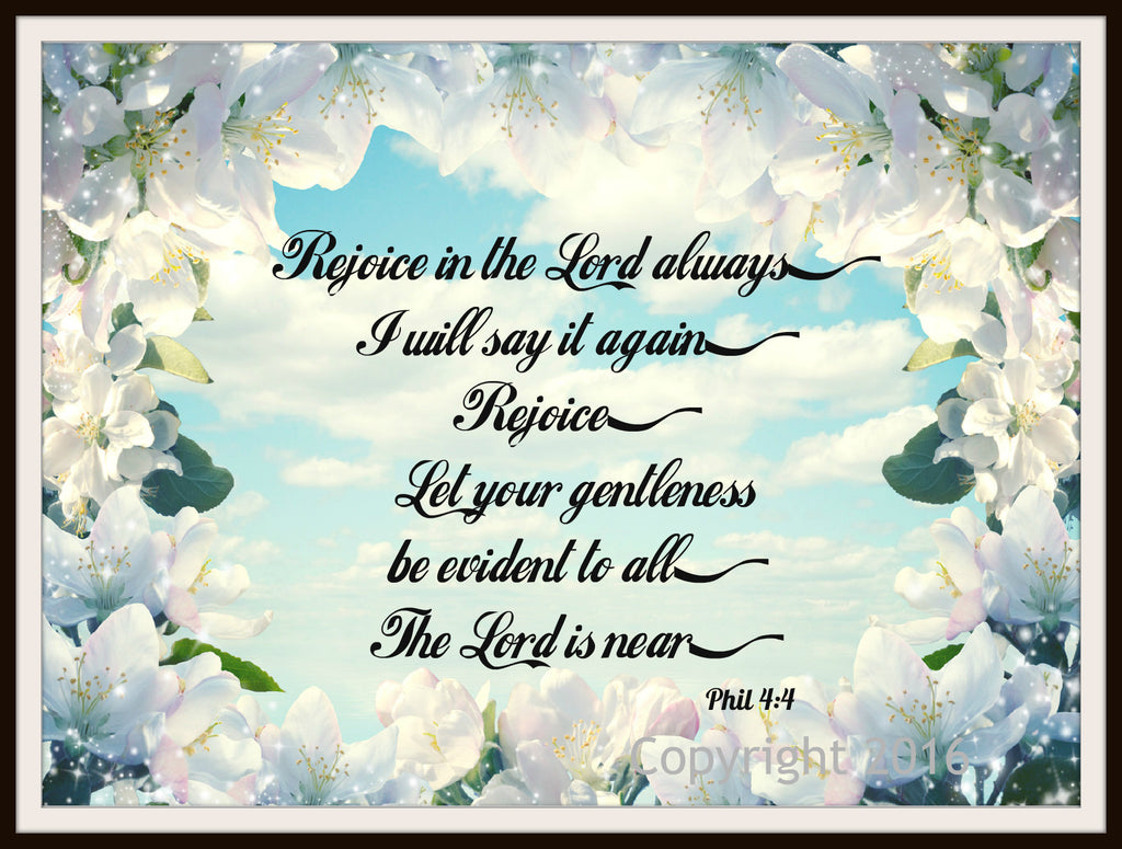 "Scripture Art Print  ""Rejoice Always"", Wall Decor, 8 x 10"" Unframed Motivational Quote"