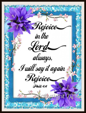 "Scripture Art Print  ""Rejoice In the Lord"", Wall Decor, 8 x 10"" Unframed Motivational Quote"
