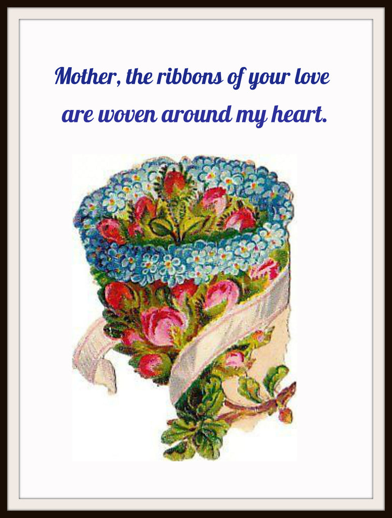 "Vintage Mother's Day Art Print ""Ribbons of Love""  8.5 x 11"""