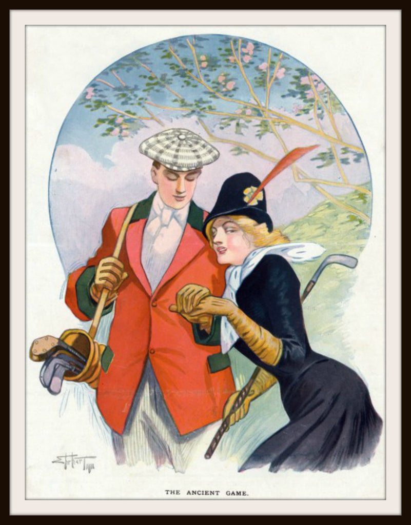 Vintage Poster Art Poster Golfing Couple 8.5 x 11""