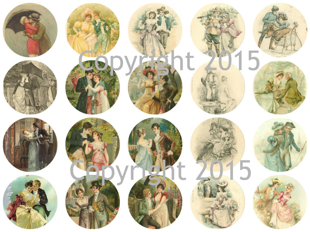 "Printed Vintage Romantic Couples  1 3/4"" Circles Collage Sheet"