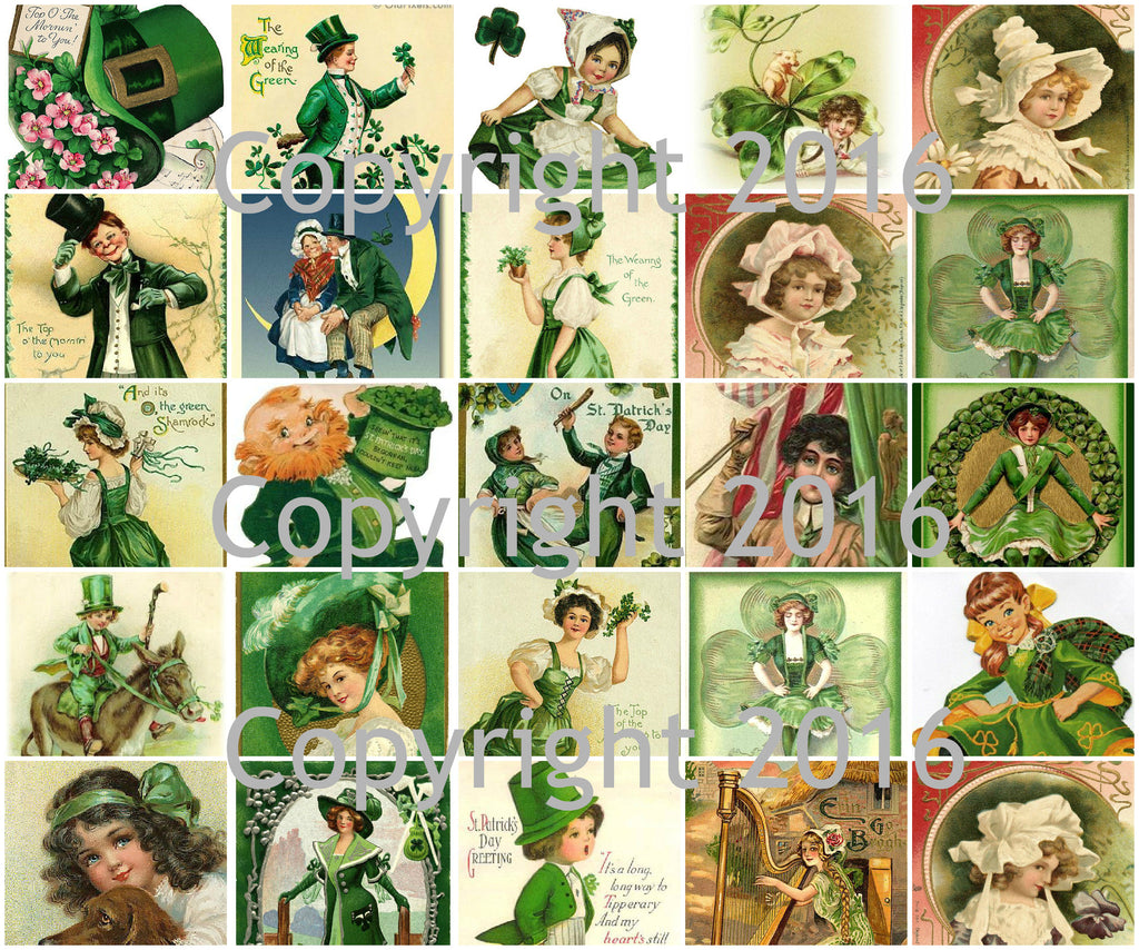 Vintage Saint Patrick's Day Printed Collage Sheet  #101