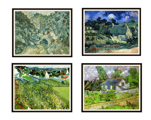 Set of 4 Vincent Van Gogh Fine Art Fields and Buildings Reproductions Print Posters Unframed 8 x 10""
