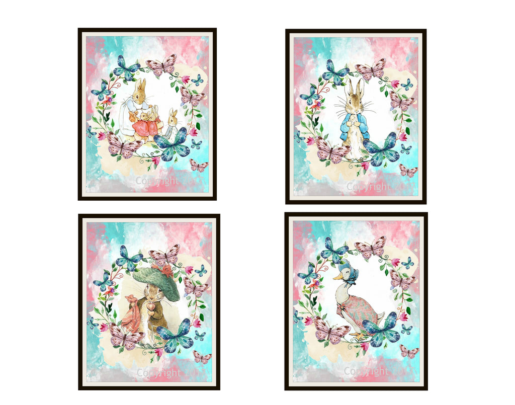 "Beatrix Potter Peter Rabbit and Friends Peter Rabbit Collection,  Set of 4  Art Prints 8 x 10"" Unframed"