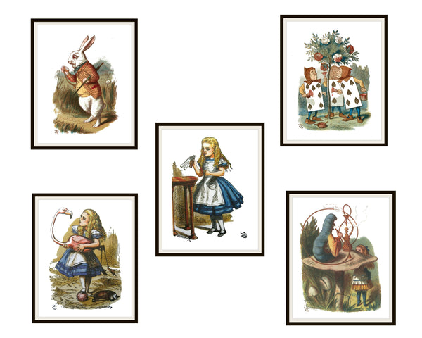 Set of 5 Printed Vintage Nursery Art Image Alice in Wonderland, Baby Shower, Wall Decor Unframed 8 x 10""