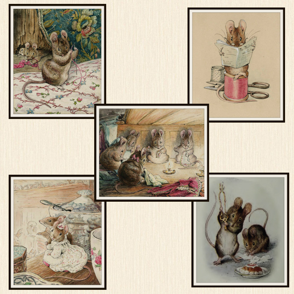 "Beatrix Potter Peter Rabbit and Mouse Collection,  Set of 5  Art Prints 8 x 10"" Unframed"
