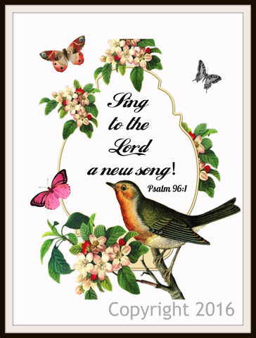 "Scripture Art Print  ""Sing to the Lord"", Wall Decor, 8 x 10"" Unframed Motivational Quote"